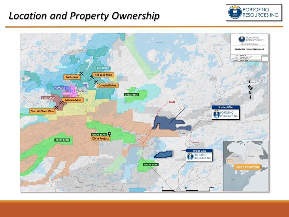 red lake ontario map Portofino Resources Increases Red Lake Ontario Property Interests red lake ontario map