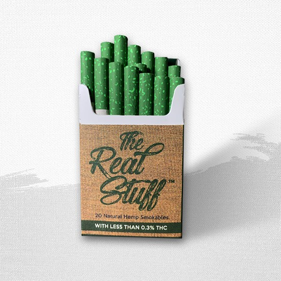 Cannot view this image? Visit: https://orders.newsfilecorp.com/files/7978/86216_20%20pack%20The%20Real%20Stuff%20open%20hemp%20cigarettes%20front%203_550.jpg