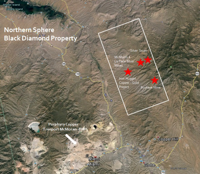 Satellite Map Of Arizona.Northern Sphere Mining Corp Initiates Geochemical Survey And Diamond