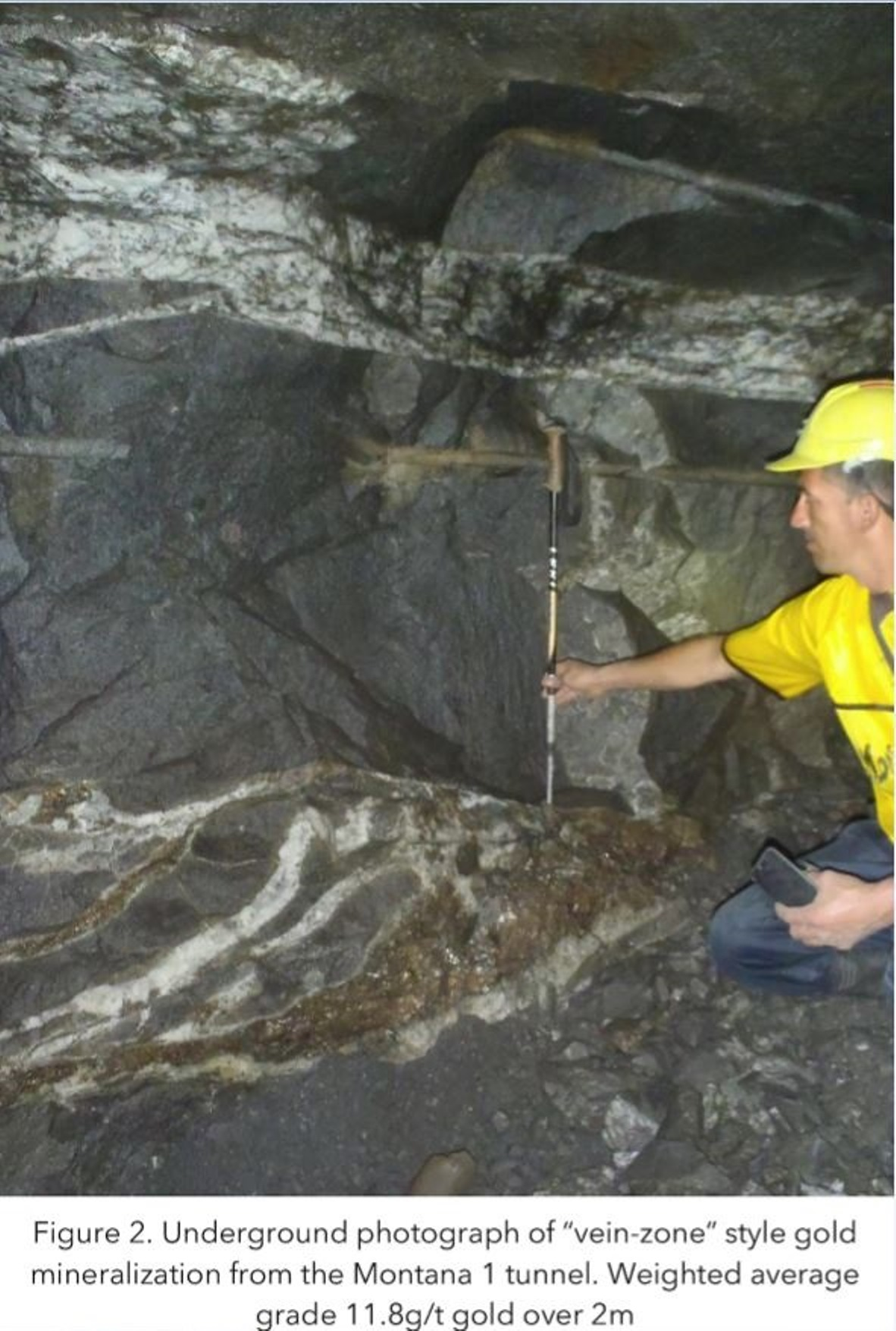 "Underground photograph of ""vein-zone"" style gold mineralization from Montana 1 tunnel. Weighted average grade 11.8g/t gold over 2m"